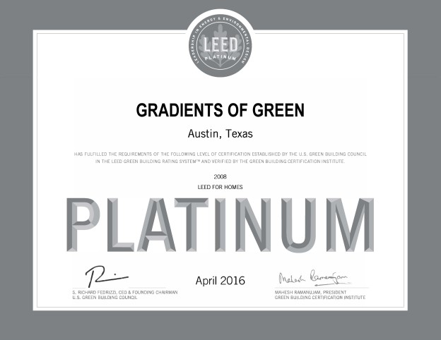 Gradients of Green is rated LEED Platinum!